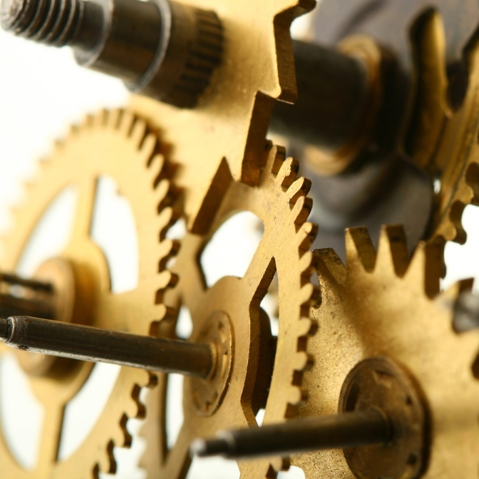 Brass Clockwork Gears Close-up