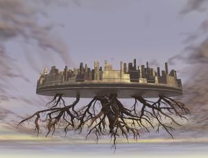 A floating island in the Clockpunk Wizard world