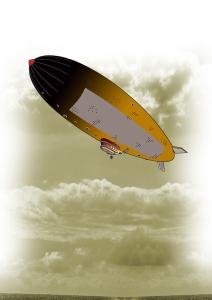 An airship in the Clockpunk Wizard world