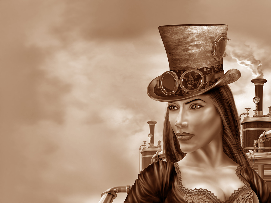Steampunk A Victorian-styled world with alternative technology gadgets powered by steam engines.