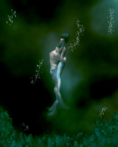 A Romantic Interlude for a Siren and a Merman in the Ocean Depths