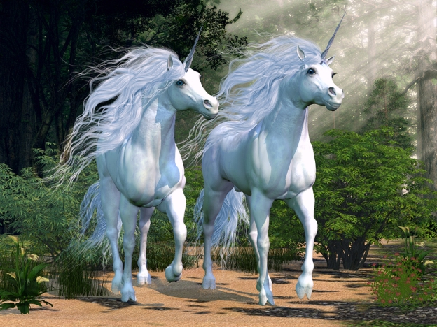 White unicorns in the Clockpunk Wizard world.