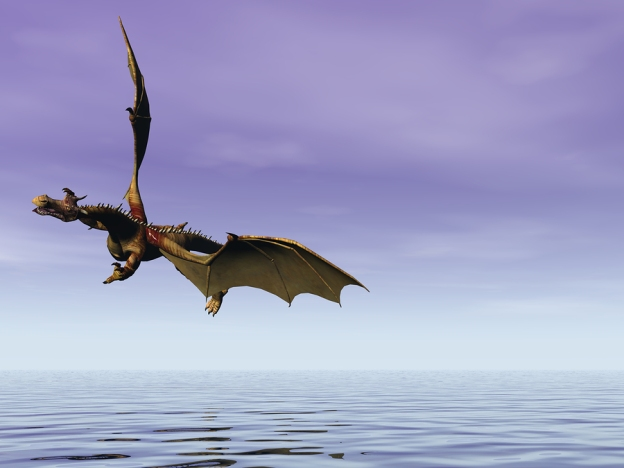 A dragonette in Sye flying over the sea.