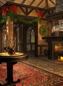 A Secular Magic Worker's Home Decorated for Midwinter Festival