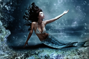 Mermaids Ride in Water Pearls