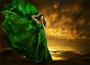 The Green Silk Whispers and Floats Like a Sorceress's Dress